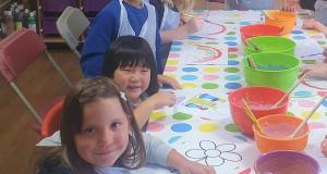 Children at Kidscene painting at a table