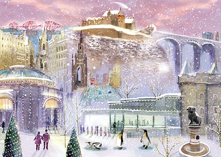 Send your faraway friends and family a little taster of home this Christmas with a card showing Edinburgh landmarks in the winter. Card for fundraising store